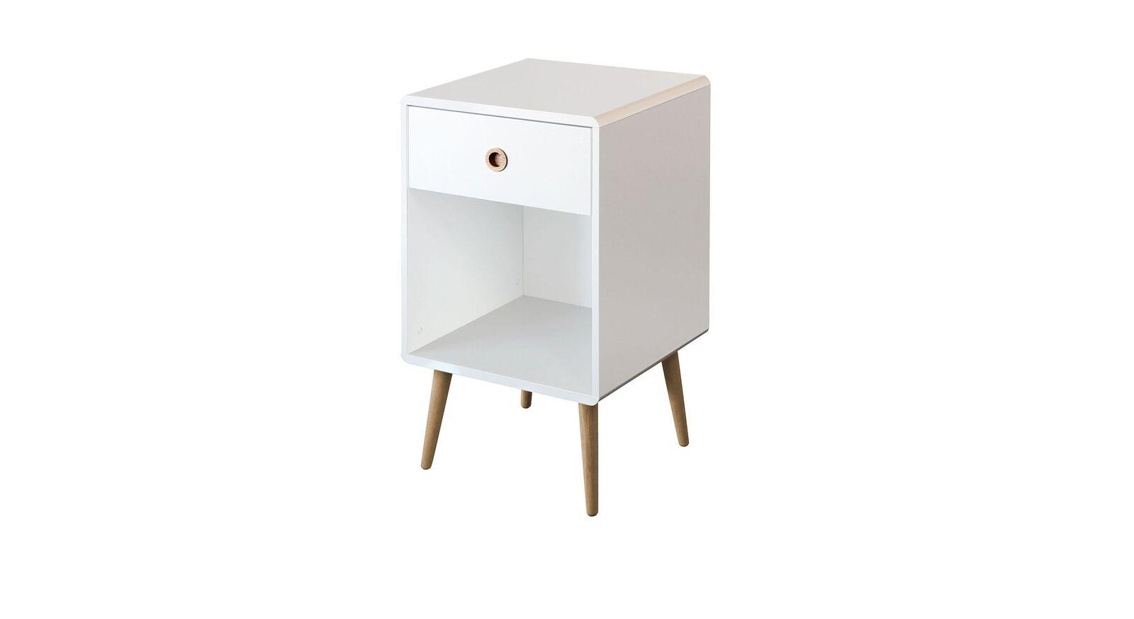 Moderner Nachttisch Zuria in Weiß mit 1 Schublade