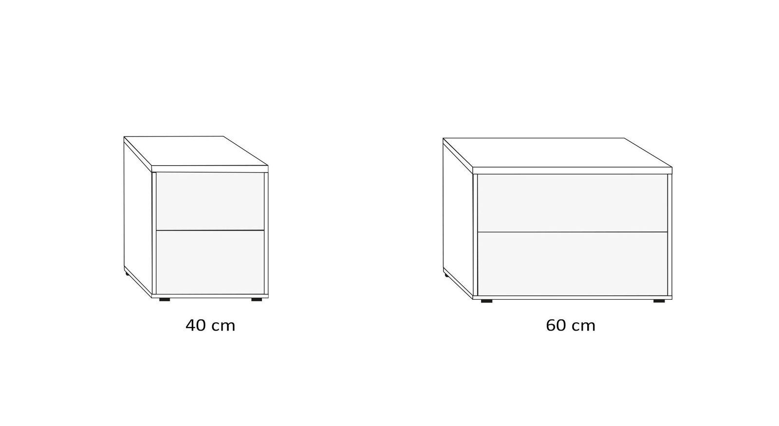 Breiten-Übersicht vom Nachttisch mit zwei Schubladen