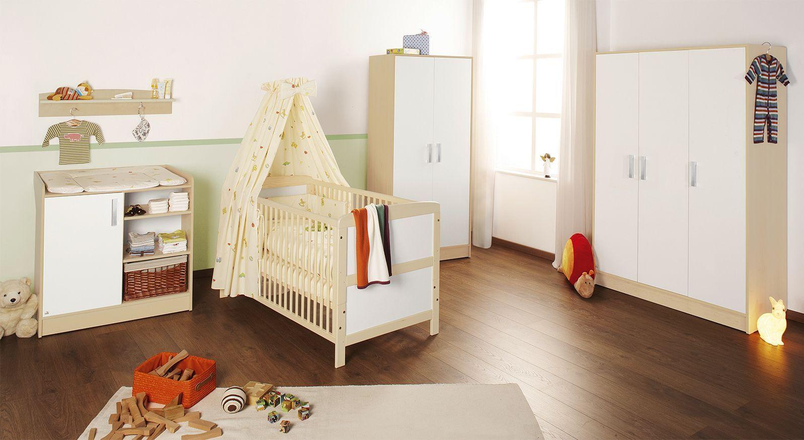 komplettes babyzimmer florian mit dekor in ahorn und wei. Black Bedroom Furniture Sets. Home Design Ideas