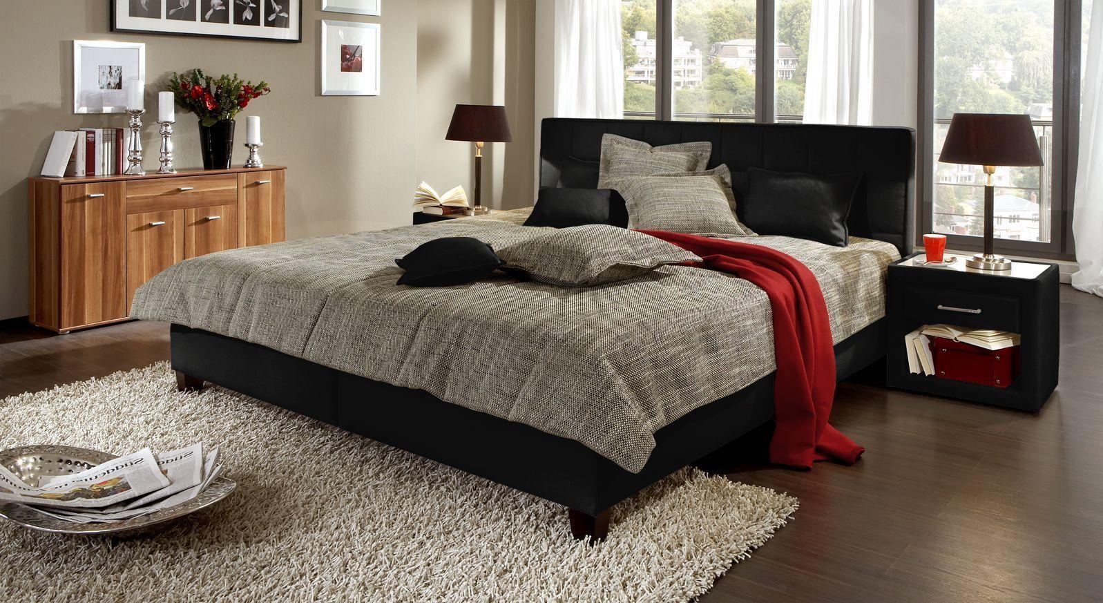 Polsterbett in dunkler Ausführung aus schwarzem Stoff online kaufen