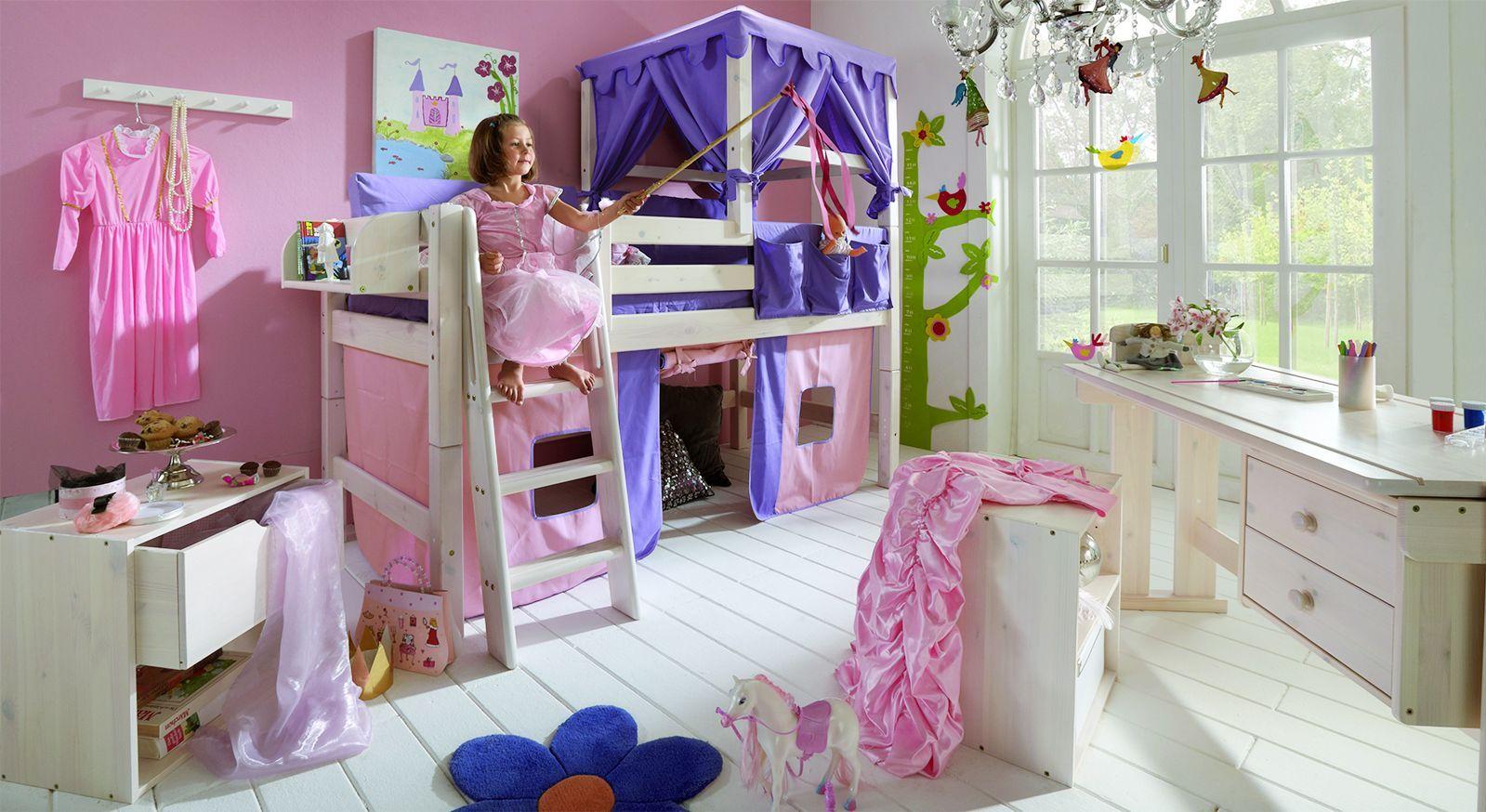 Etagenbett Zubehör Vorhänge : Prinzessin hochbett kids paradise in weiß inklusive vorhang