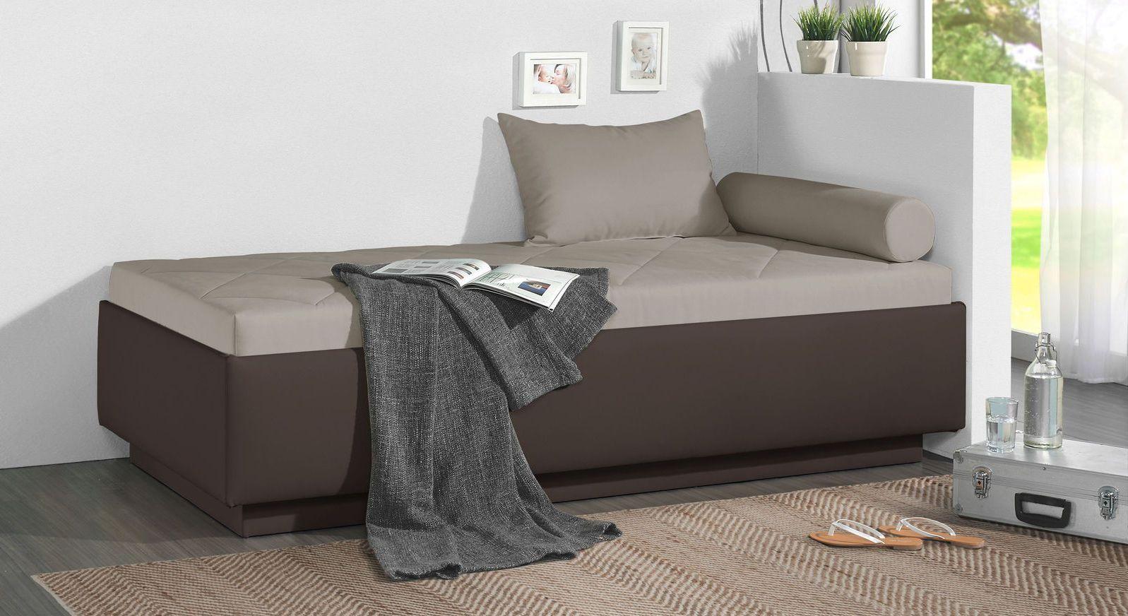 Relaxliege Eriko aus dunkelbraunem Kunstleder und graubeigem Microvelours