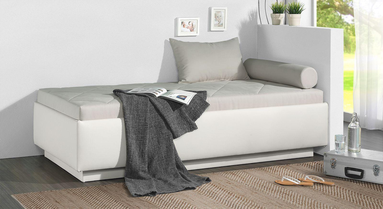 Relaxliege Eriko mit hellgrauem Microvelours und Kunstleder in Weiß