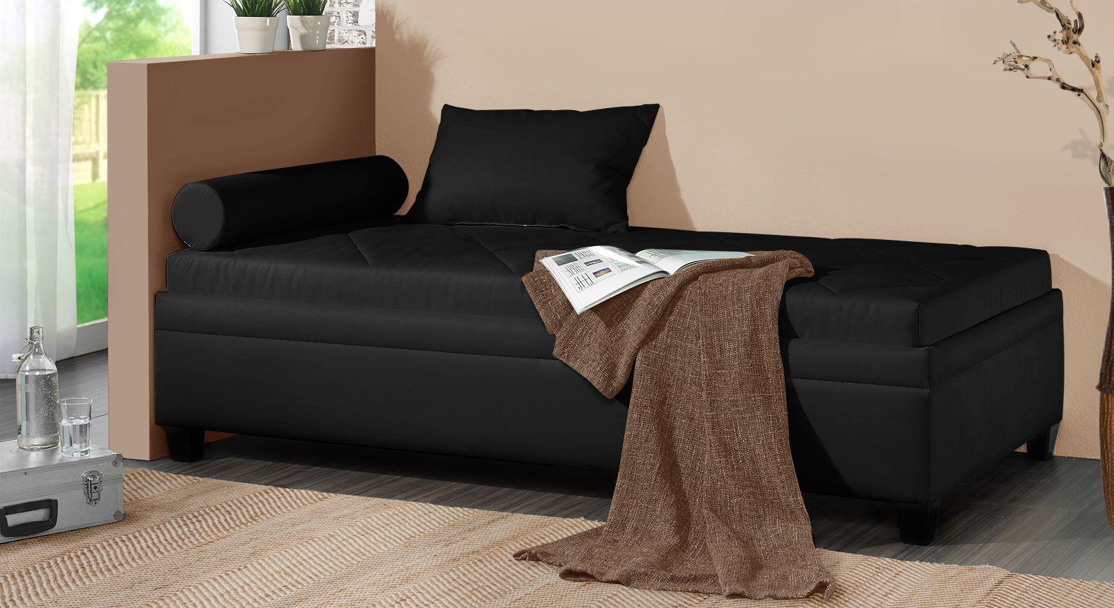 Relaxliege Kamina aus Microvelours in Schwarz