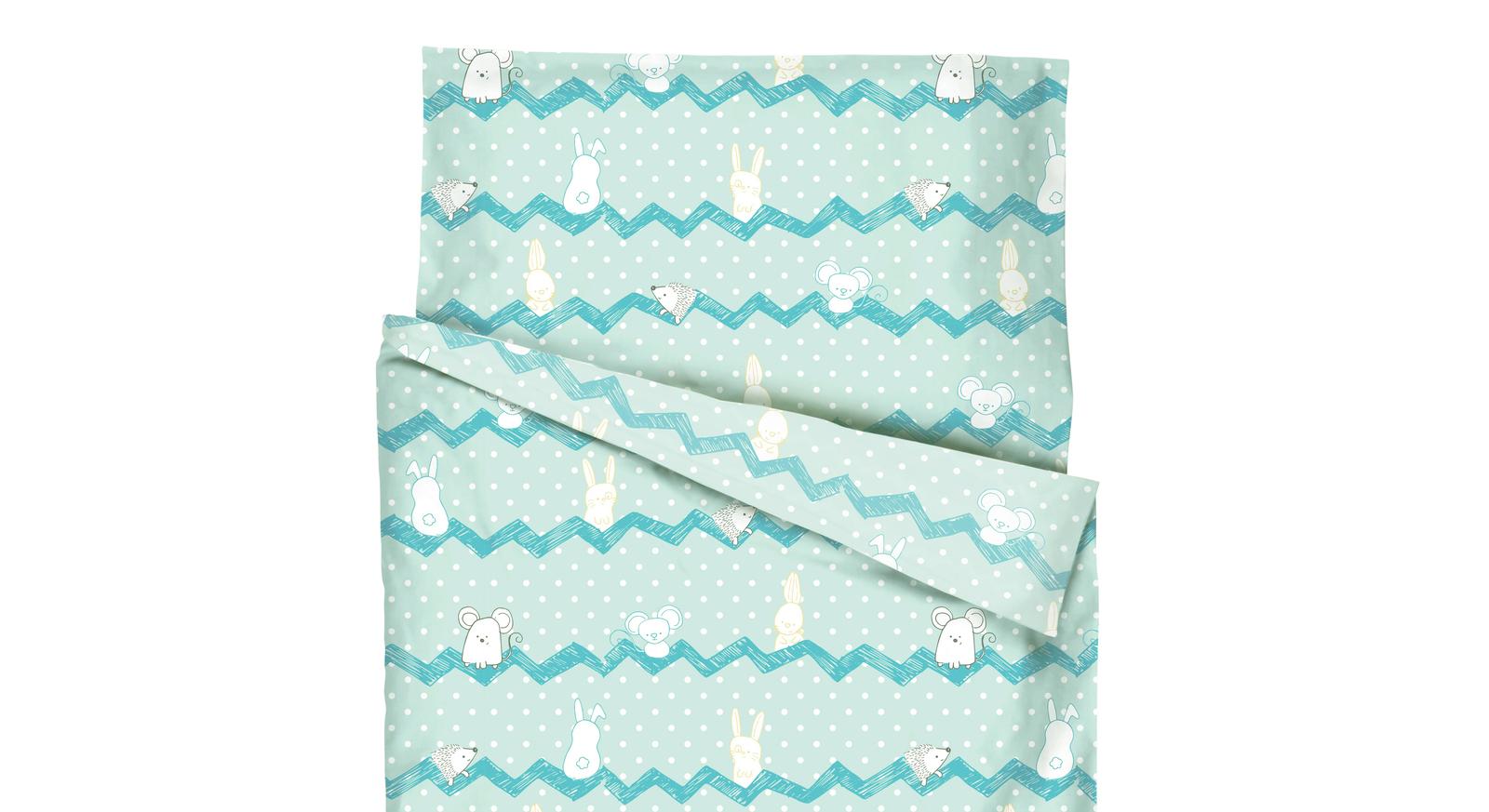 Renforcé-Bettwäsche Maus & Hase mit Knöpfen aus Kunststoff