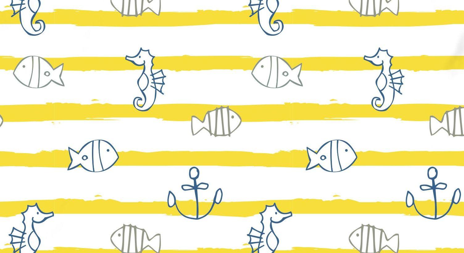 Renforcé-Bettwäsche Meeresbrise mit Fischen, Seepferdchen und Ankern