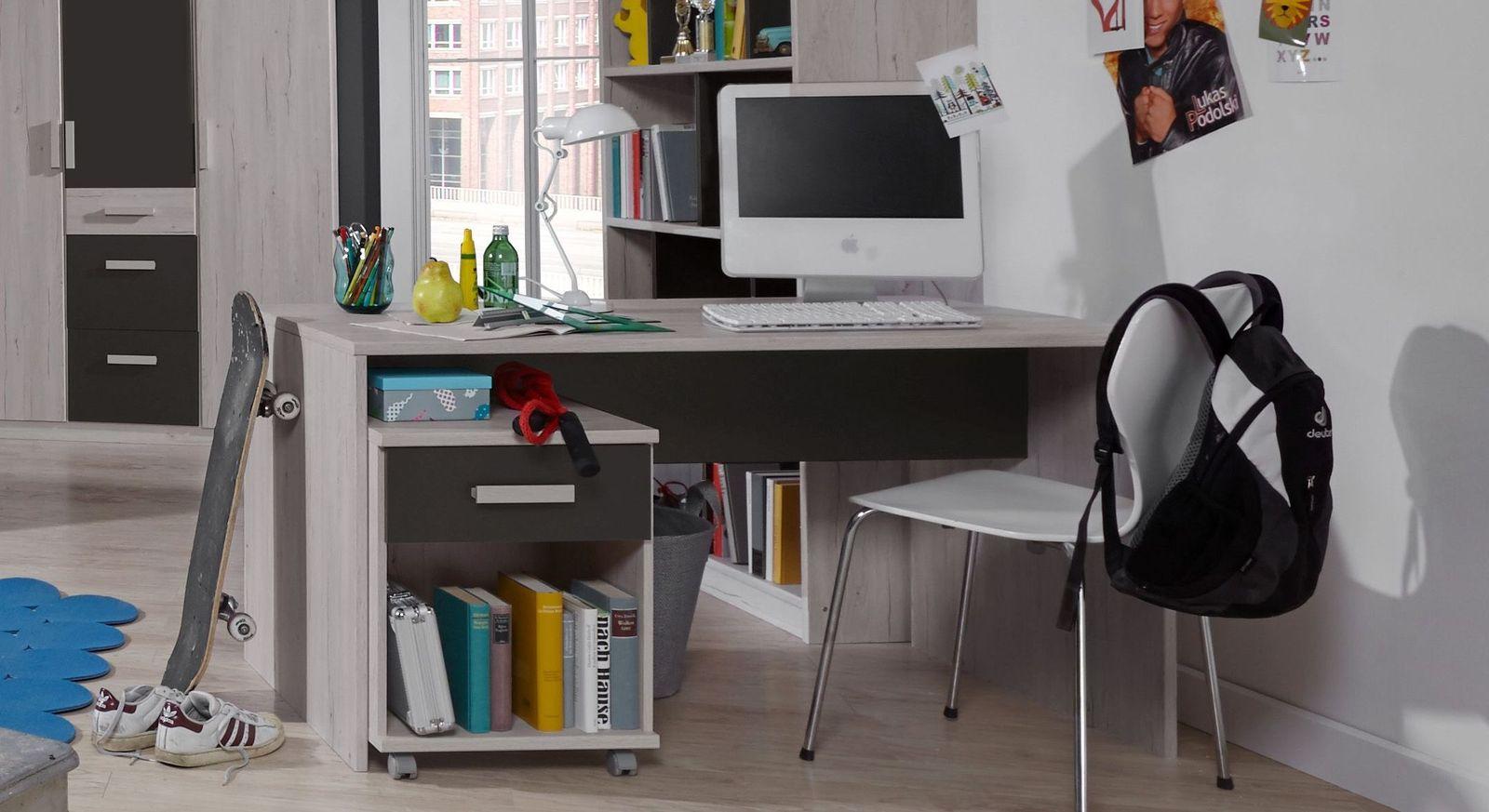 Rollcontainer und Schreibtisch Mereto in passendem Dekor