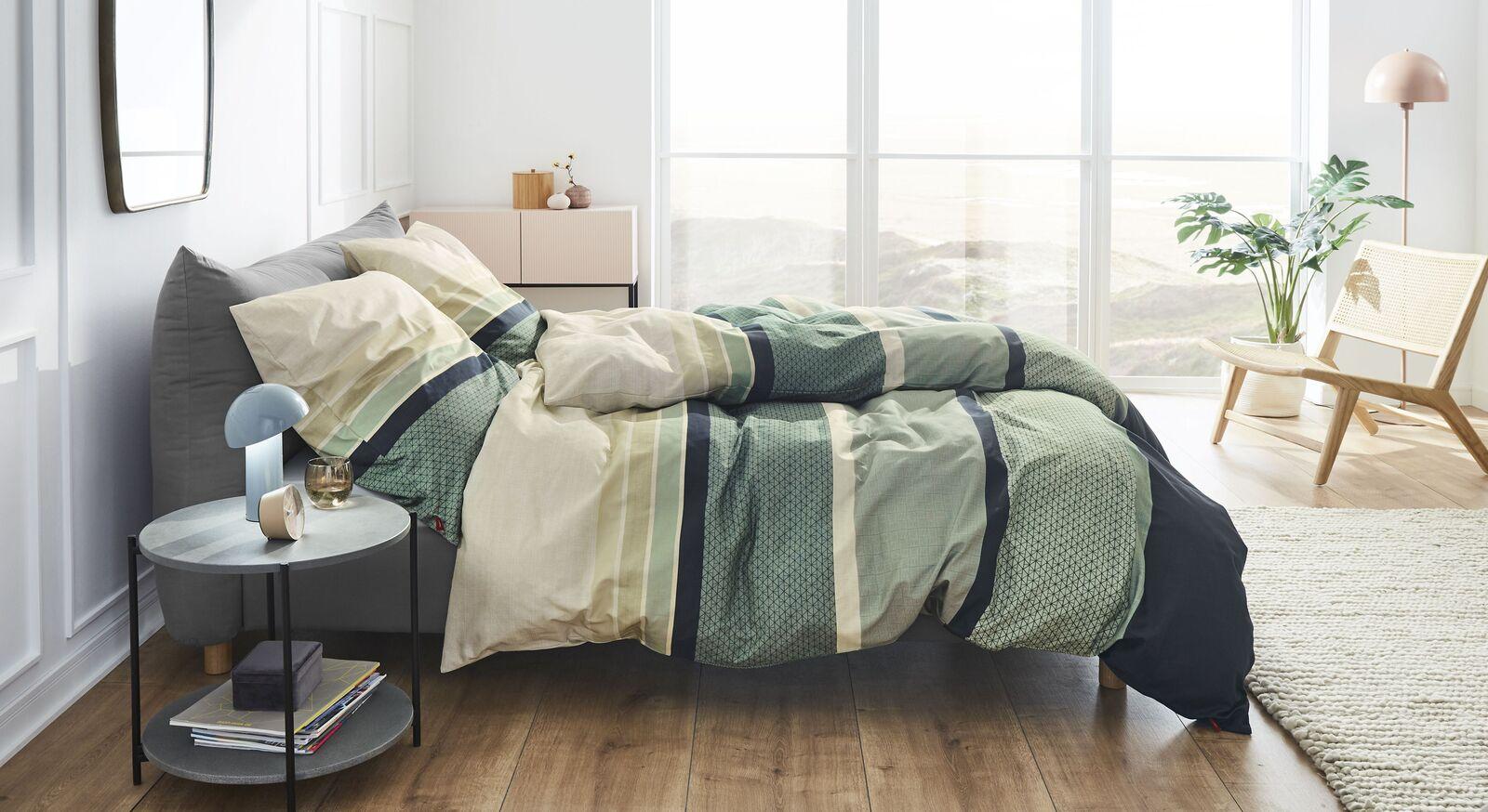 Satin-Flanell-Bettwäsche s.Oliver Streifen beige-grün aus 100% Baumwolle