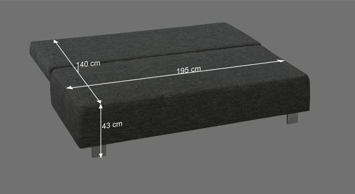 Bemaßungsgrafik der Liegefläche des Schlafsofas Agila