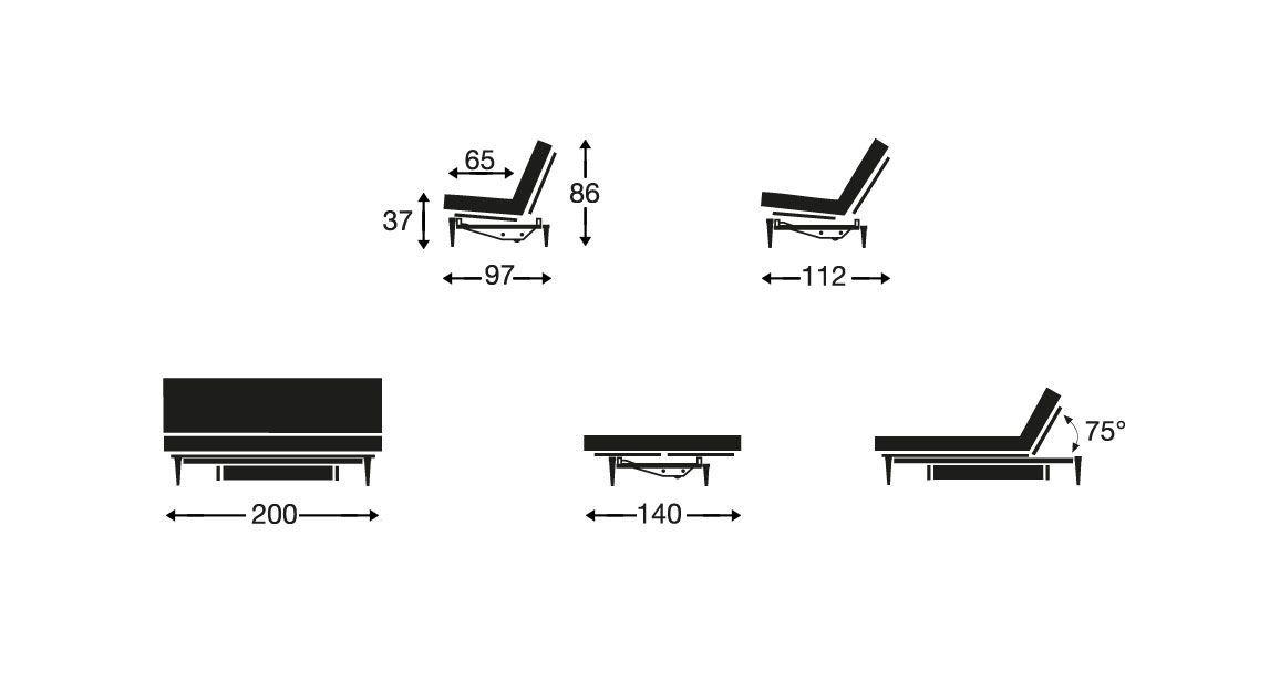 Schlafsofa Astoria Skizze Abmessungen und Funktionen
