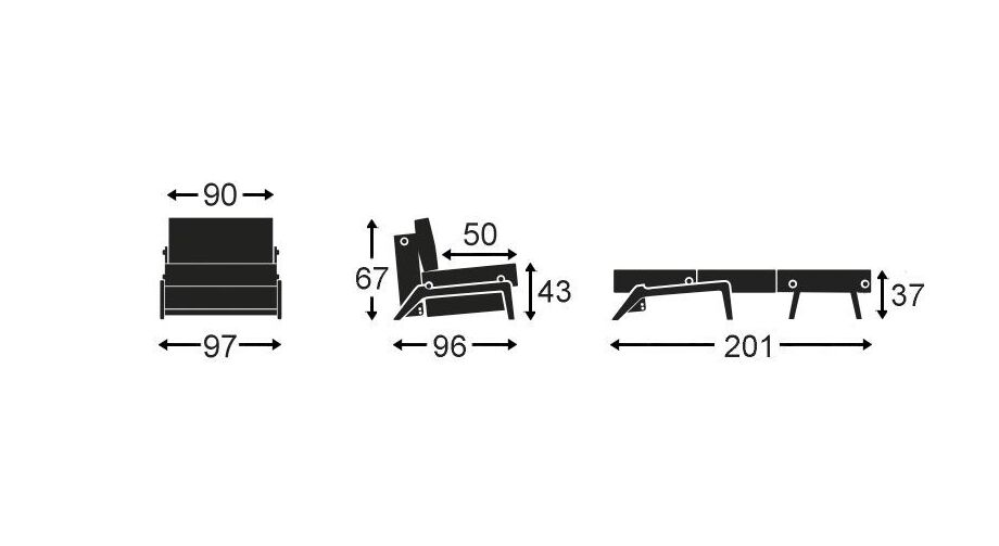 Schlafsofa Carltons Grafik mit 90 cm Breite
