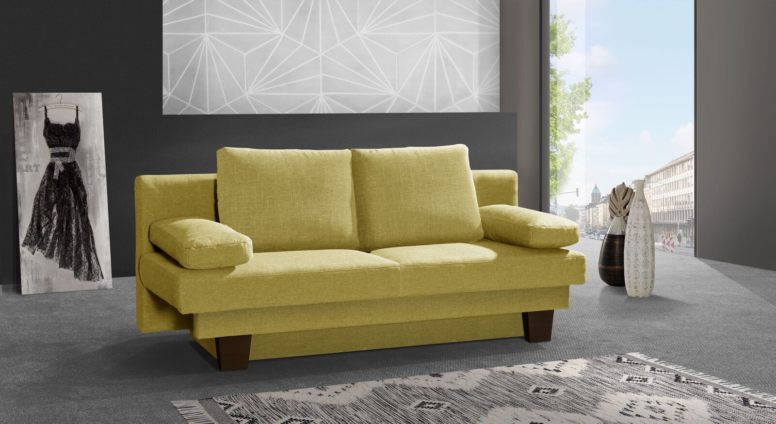 Schlafsofa Daresa mit passenden Möbeln