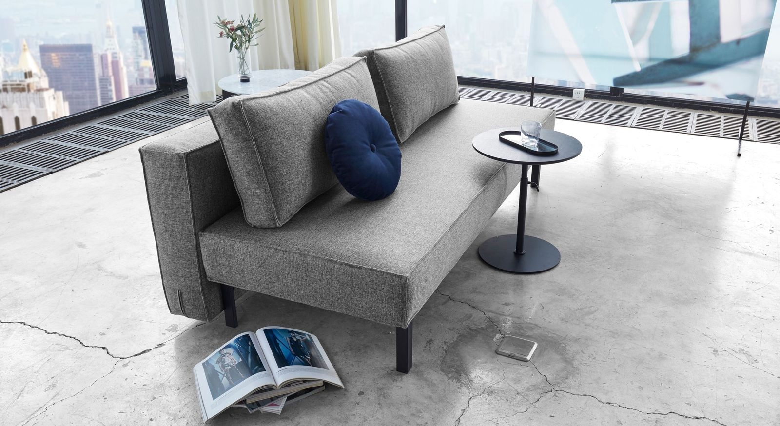 Schlafsofa Ellwood in grauem Twist-Stoff