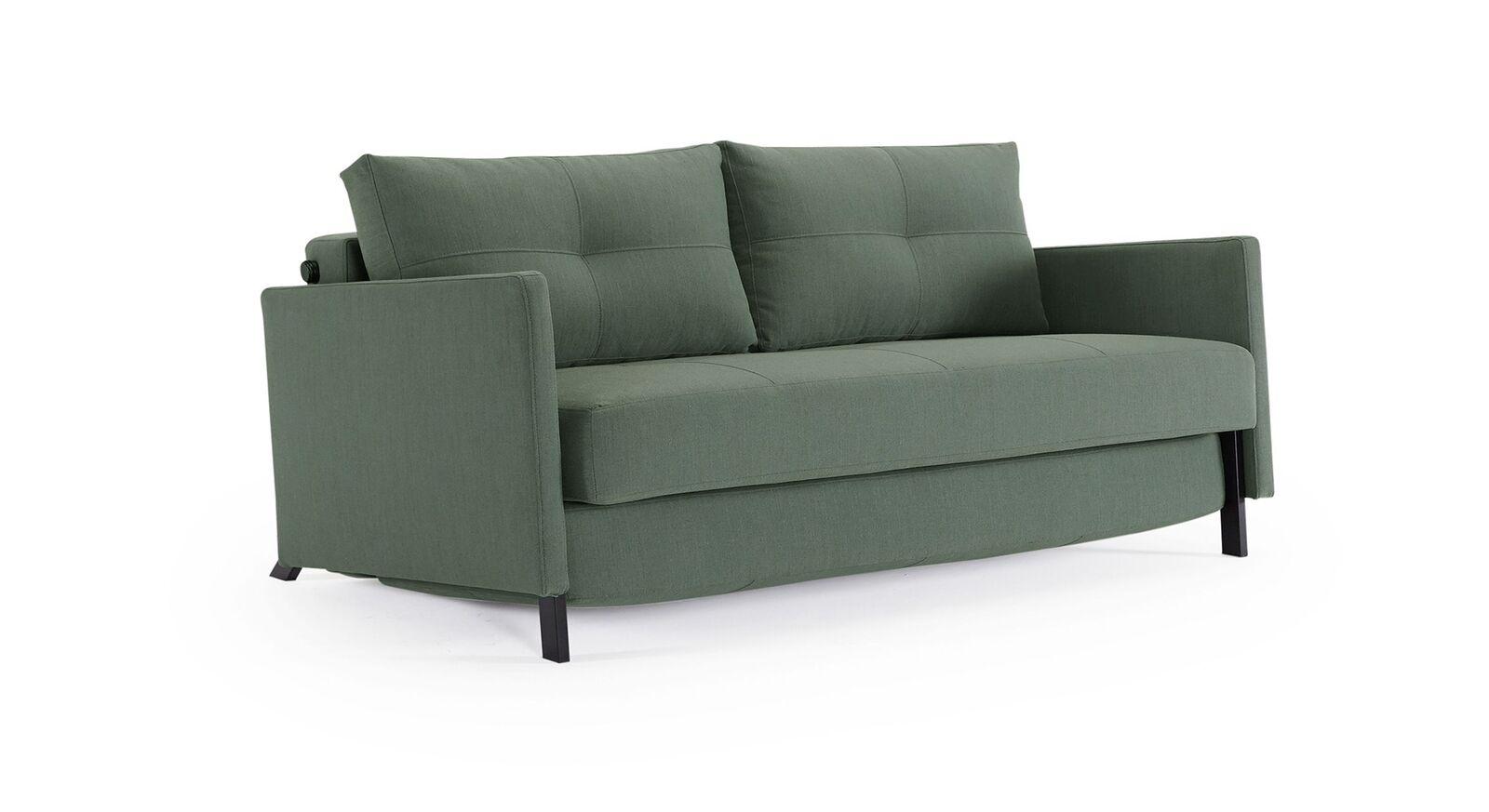 Grünes Schlafsofa Kuda in der Stoffart Elegance