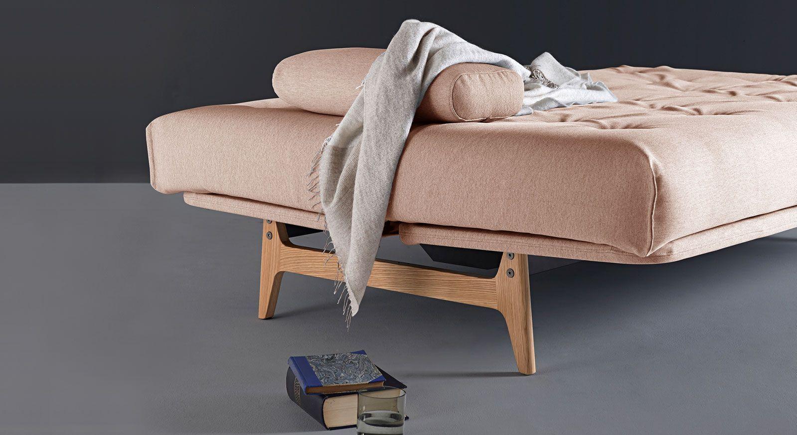 Schlafsofa Lamond mit Stoffbezug aus Soft in Korall