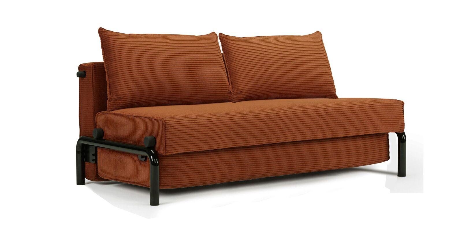 Zweisitzer-Schlafsofa Naoto mit orangenem Bezug