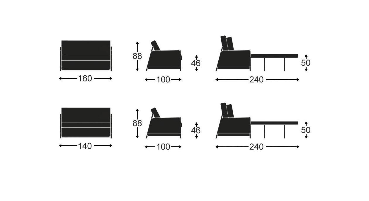Grafik zur Bemaßung des Schlafsofas Staines