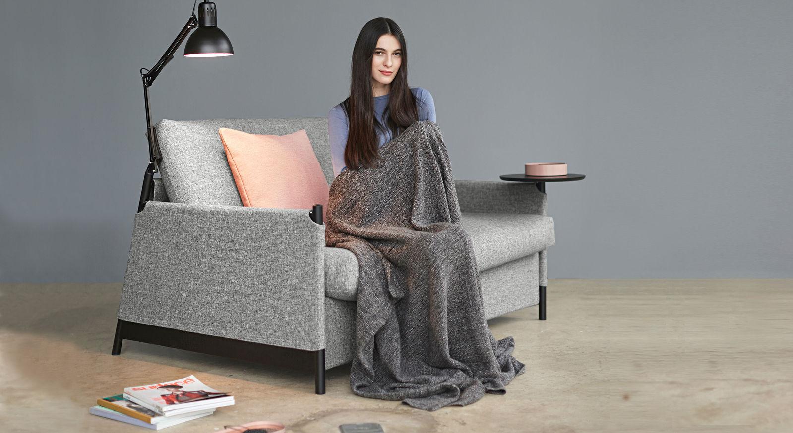 Schlafsofa Staines mit Stoffbezug aus granitfarbenem Twist