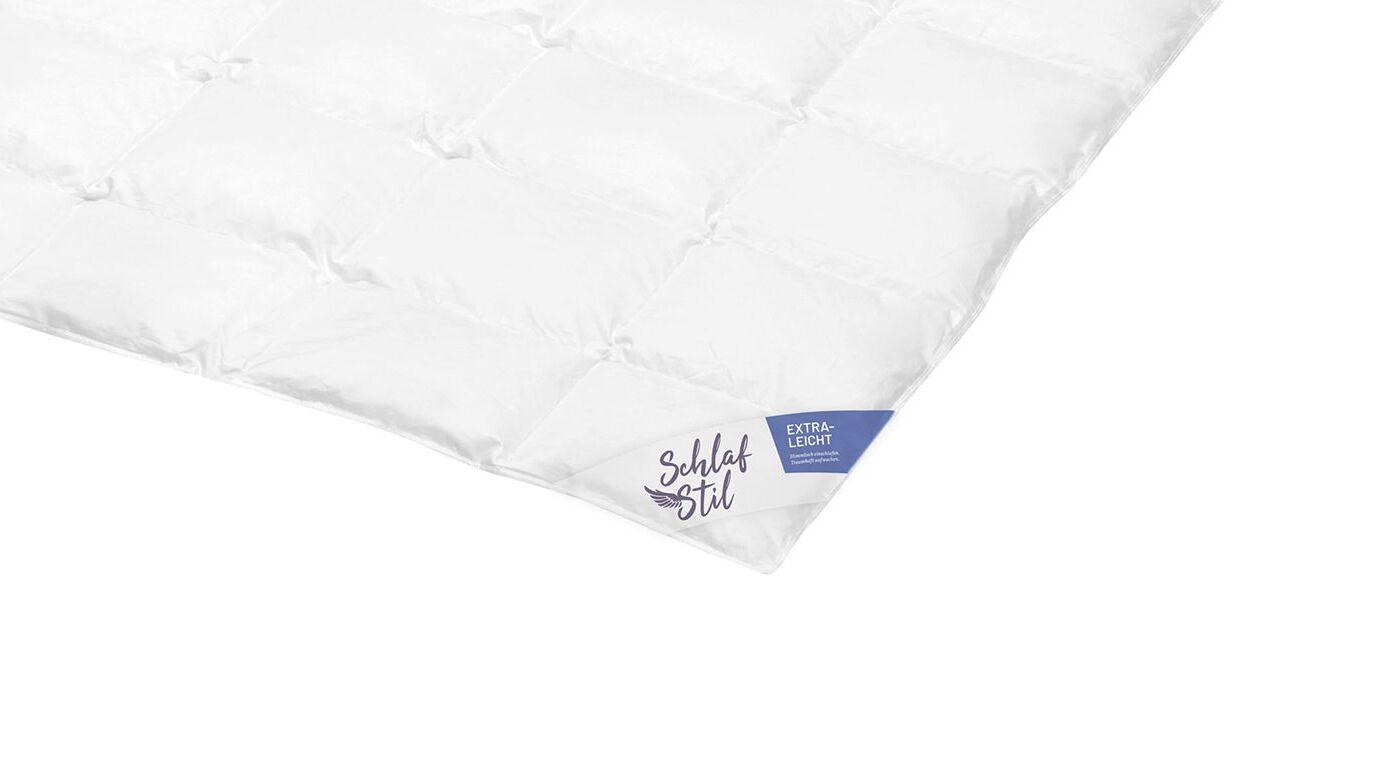 SCHLAFSTIL Daunen-Bettdecke D500 extra leicht mit Kassettensteppung