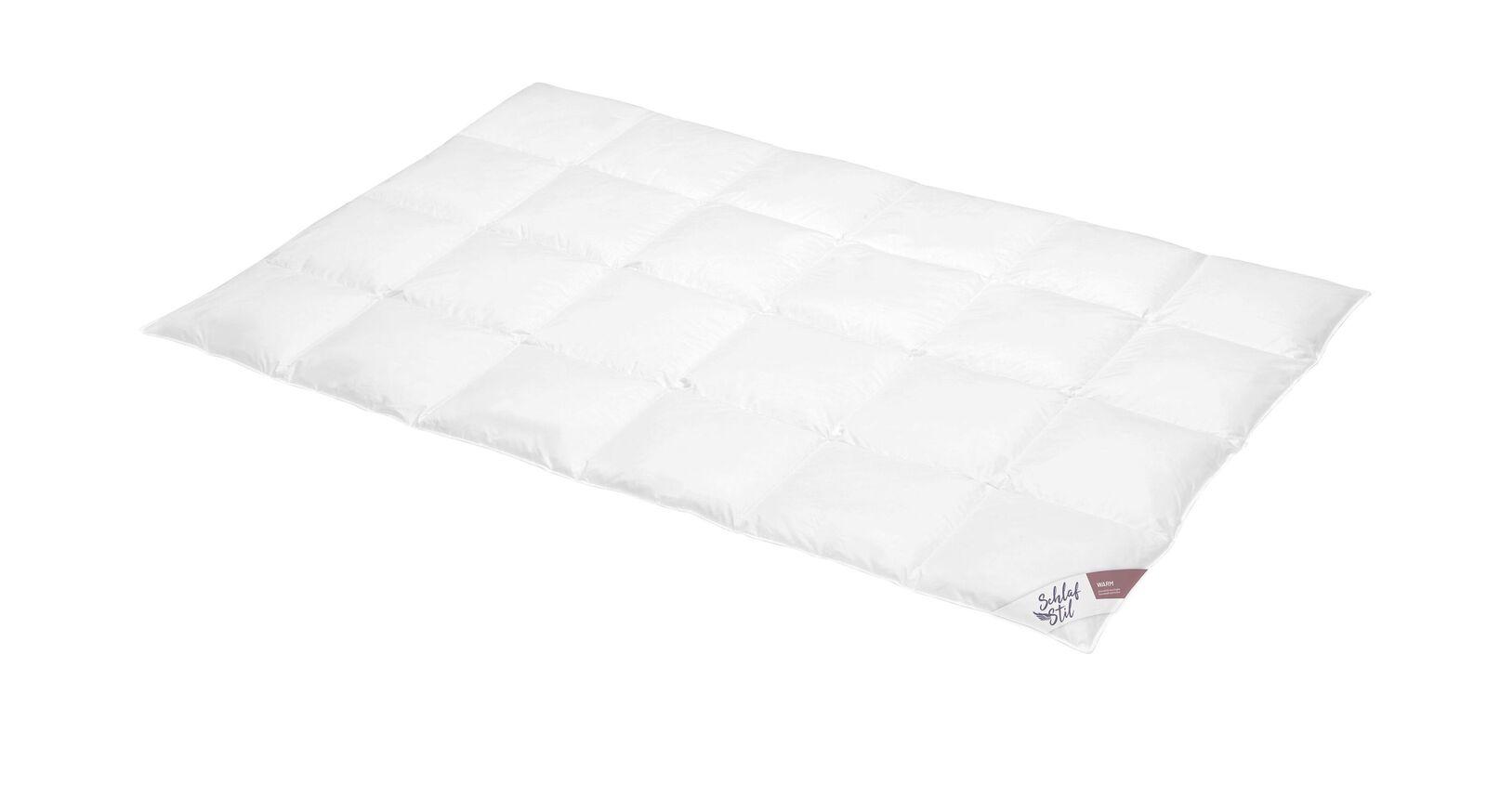 SCHLAFSTIL Daunen-Bettdecke D500 warm mit Baumwollbezug