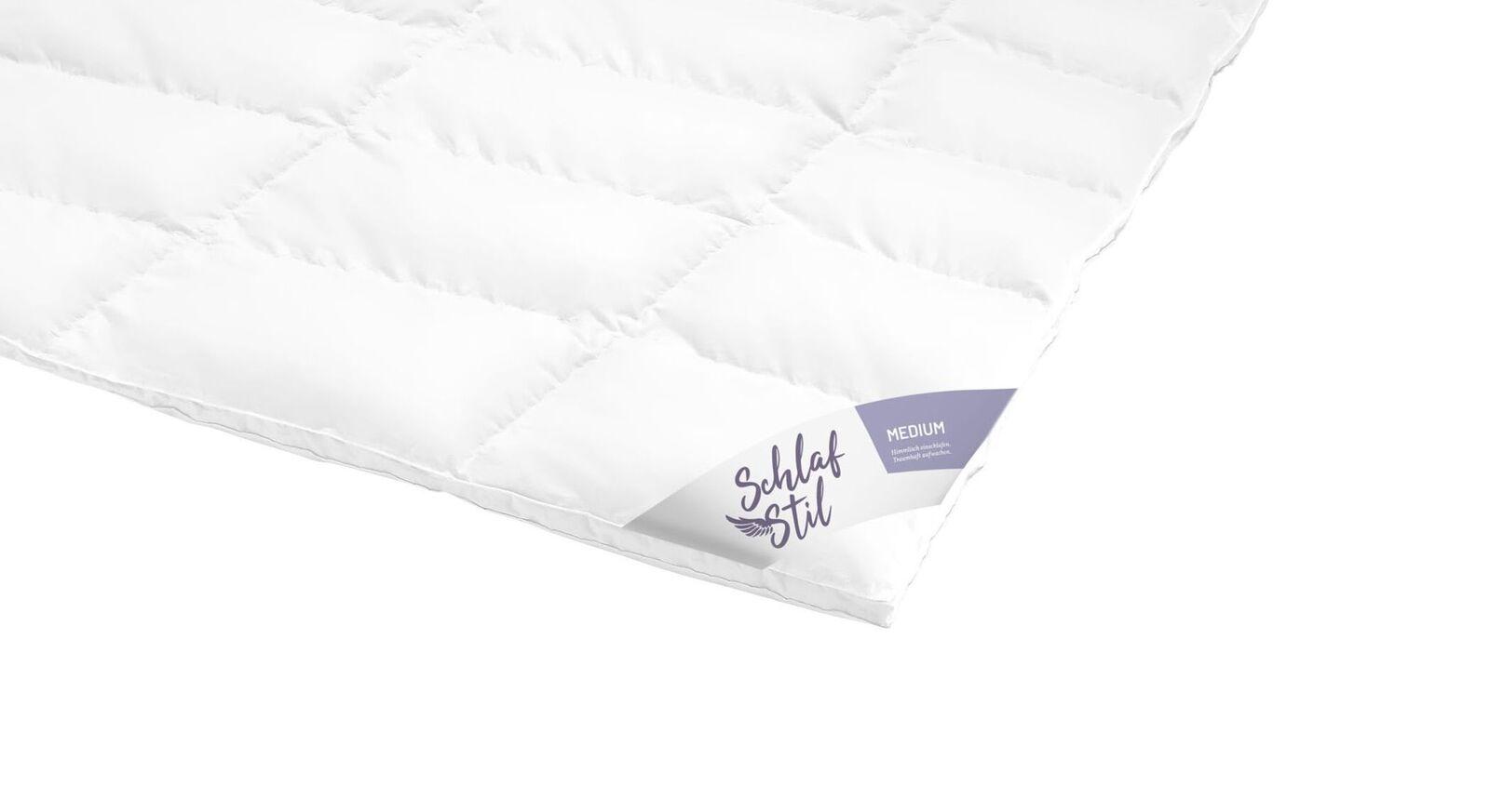 SCHLAFSTIL Daunen-Bettdecke D800 medium mit Baumwoll-Bezug