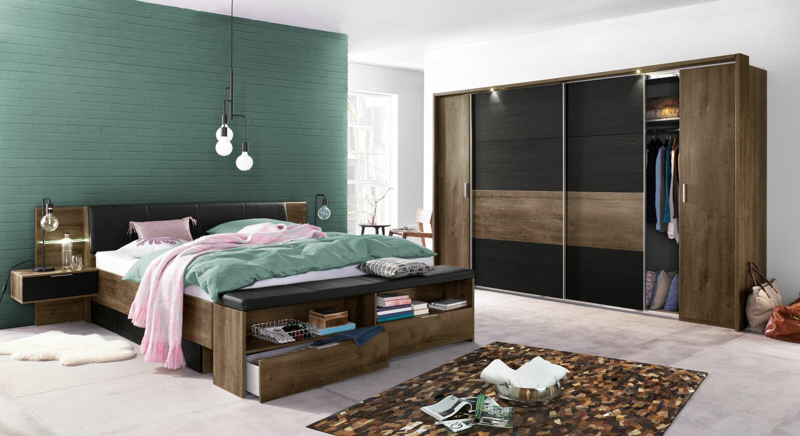 bettbank gepolstert schlammeiche dekor mit schubladen gallinaro. Black Bedroom Furniture Sets. Home Design Ideas