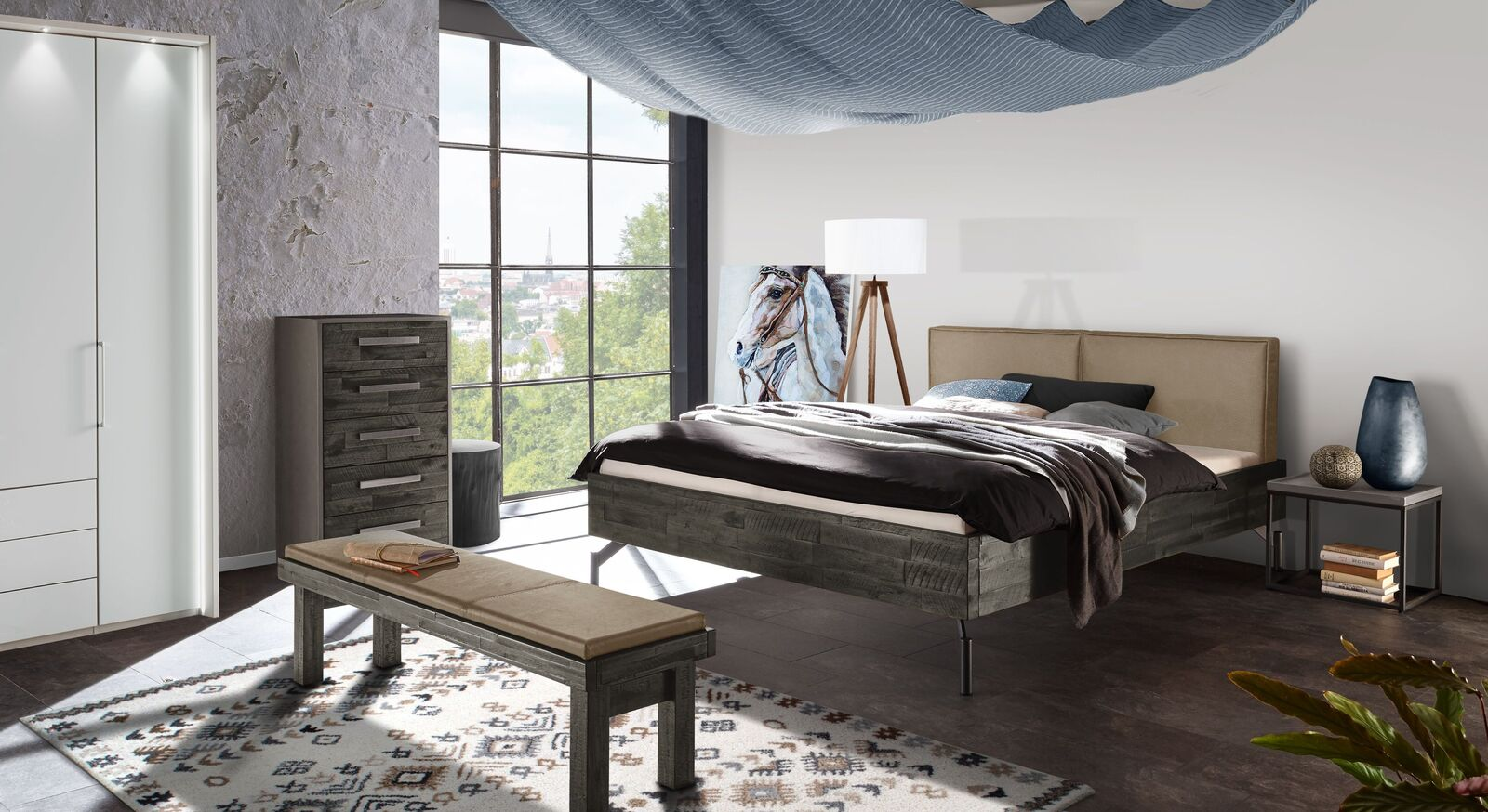 Schlafzimmer Jonar mit Massivholz-Bett