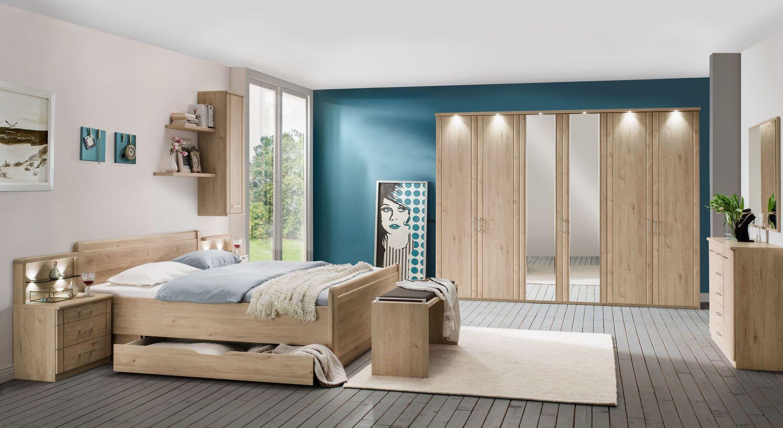 Schlafzimmer Telford mit Möbeln in Steineiche Dekor