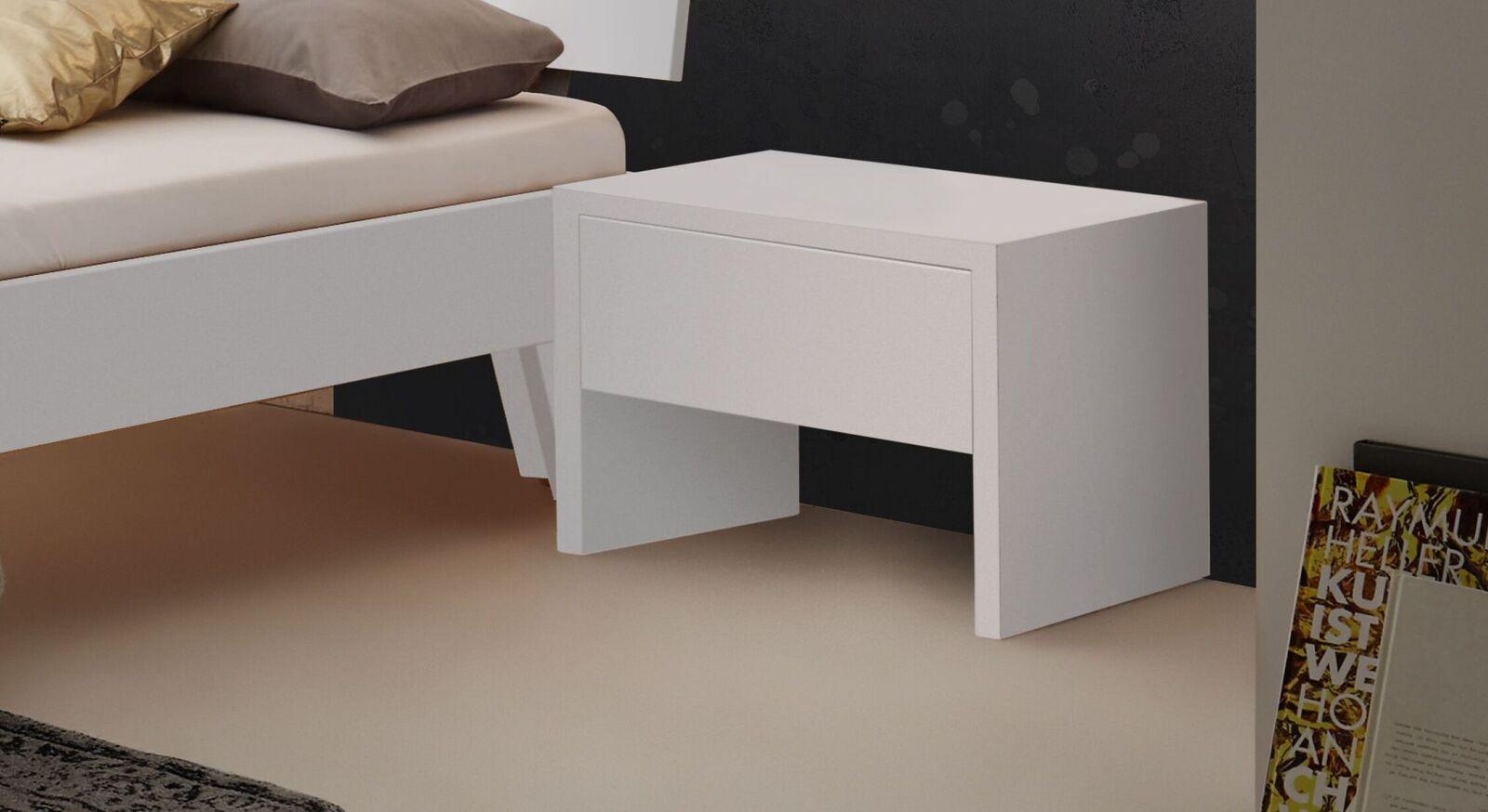 Schlichter Nachttisch Kieran aus weißem MDF