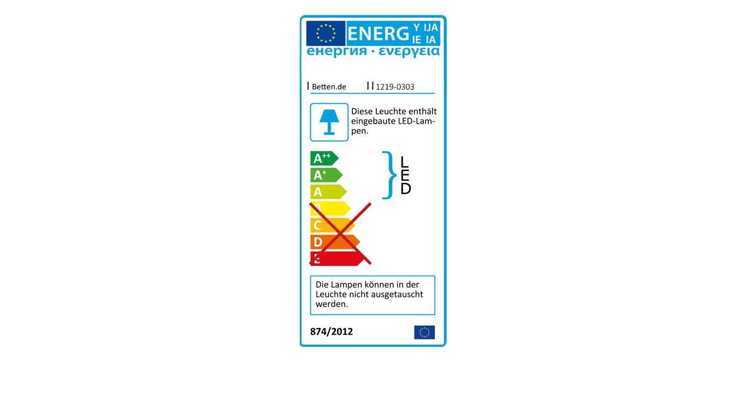 Schminktisch Dolavon mit Energieverbrauchs-Angabe zur Beleuchtung