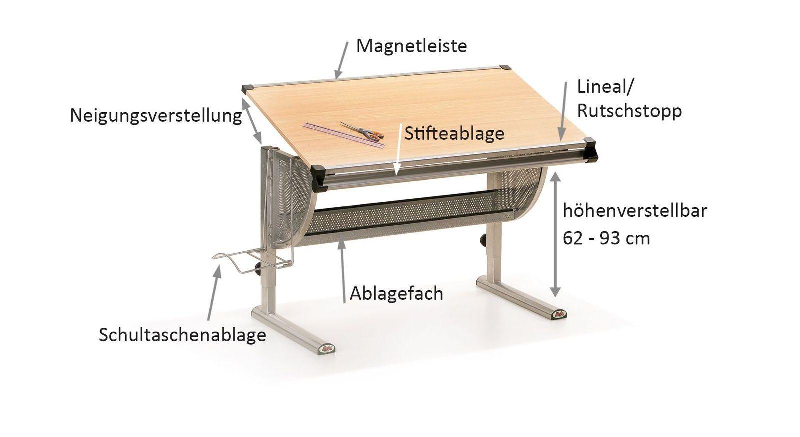 Schreibtisch Nico mit Bezeichnungs-Grafik