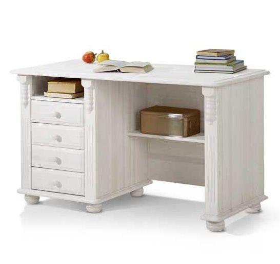 Schreibtisch im landhausstil kiefer wei gewachst for Ecken schreibtisch