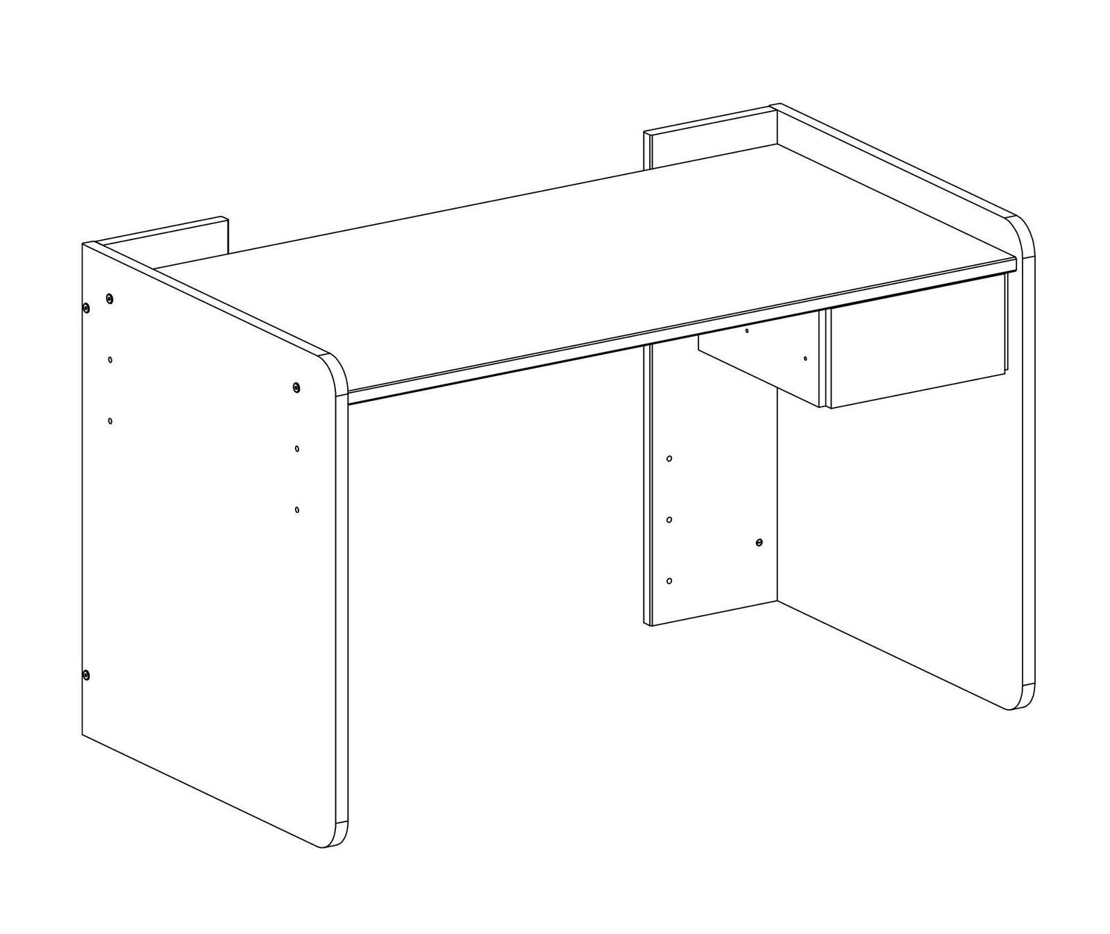 Die Arbeitsfläche Des Schreibtisches Lässt Sich In 53 Cm, 63 Cm Oder 72 Cm  Höhe Arretieren.