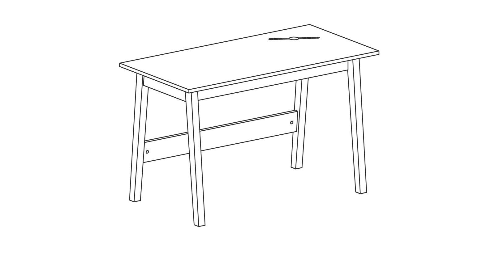 Schreibtisch Kids Nordic mit Kabelkanal in der Tischplatte