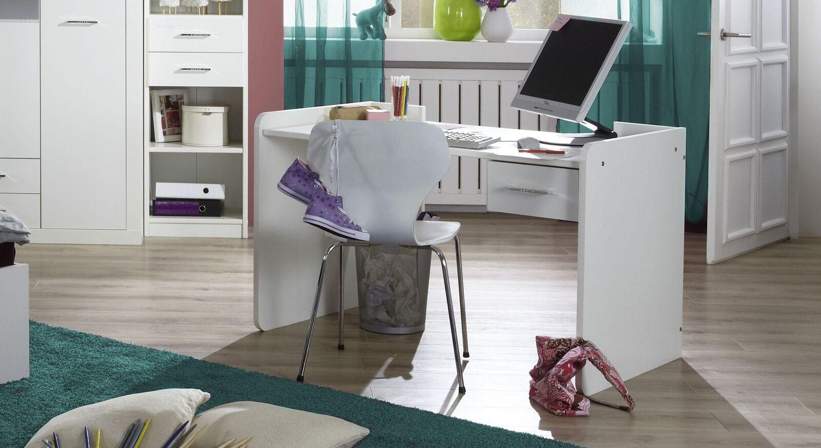 Schreibtisch Lajana höhenverstellbar in alpinweißem Dekor