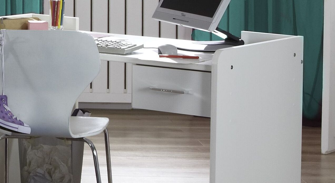 Höhenverstellbarer Schreibtisch Lajanas Schublade mit Kunststoff-Griff