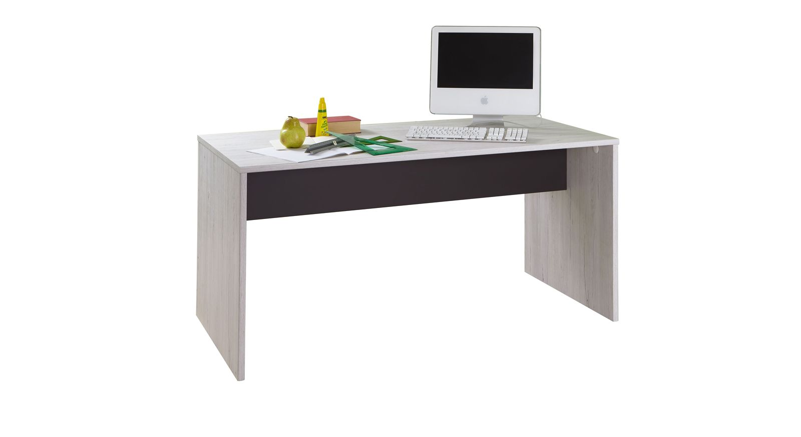 Robuster Schreibtisch Mereto aus Dekor in Weißeiche