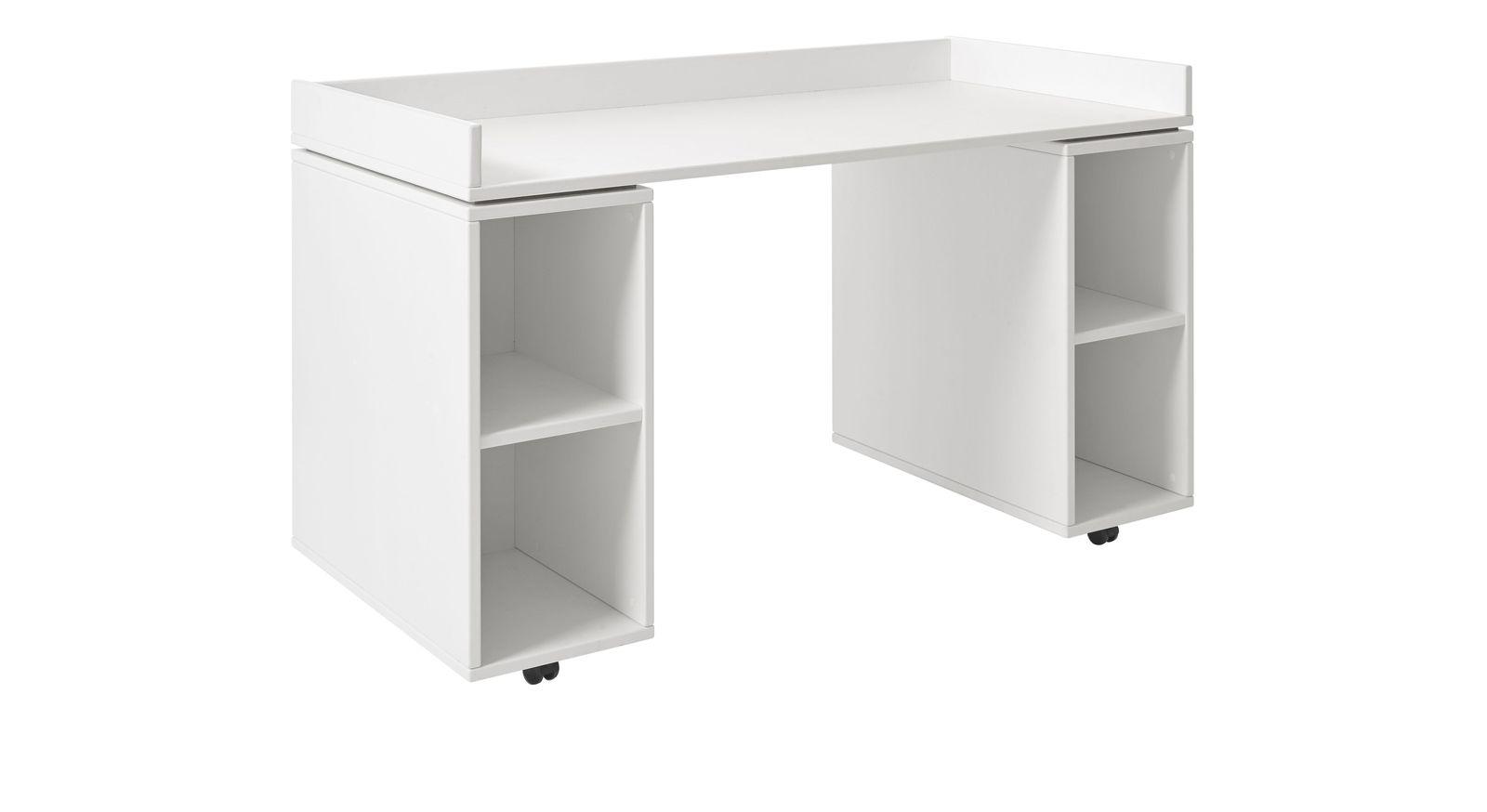 Weiß lackierter Schreibtisch LIFETIME Original rollbar