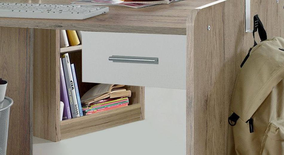 Schreibtisch Zagra höhenverstellbar mit weißer Schublade