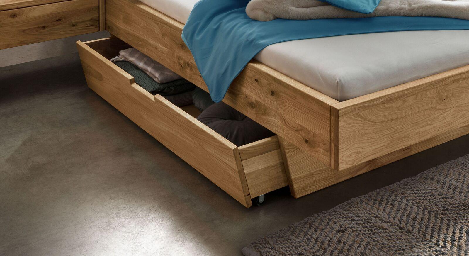 Schubkasten-Bett Adrien mit beidseitig montierbarem Schubkasten