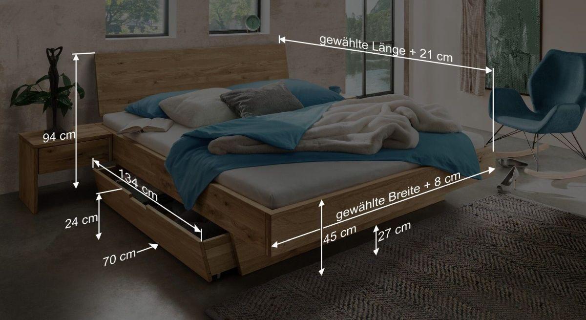 Bemaßungsgrafik zum Schubkasten Bett Adrien
