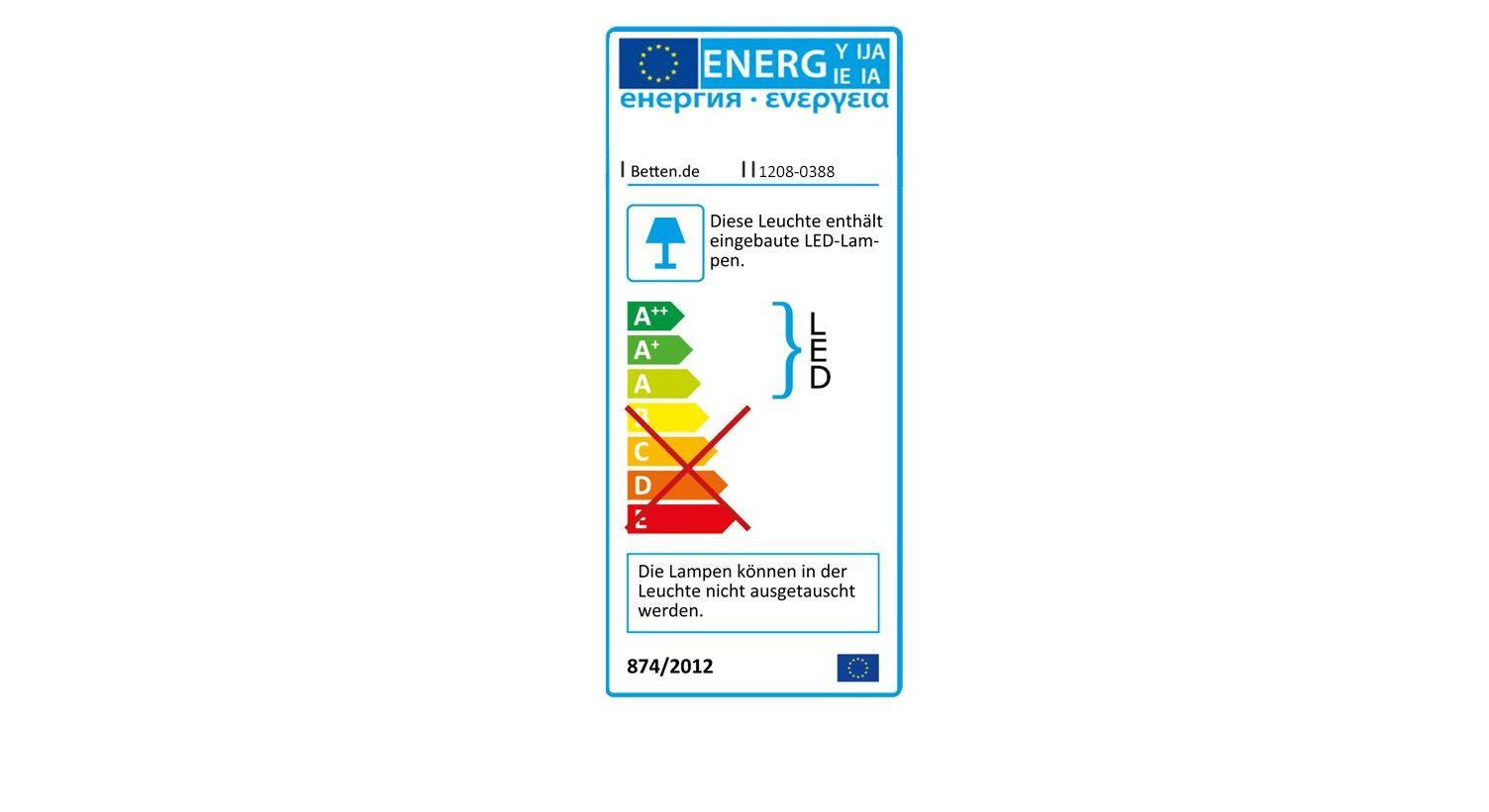 Energieverbrauchskennzeichnung vom Schubkasten-Bett Alwara