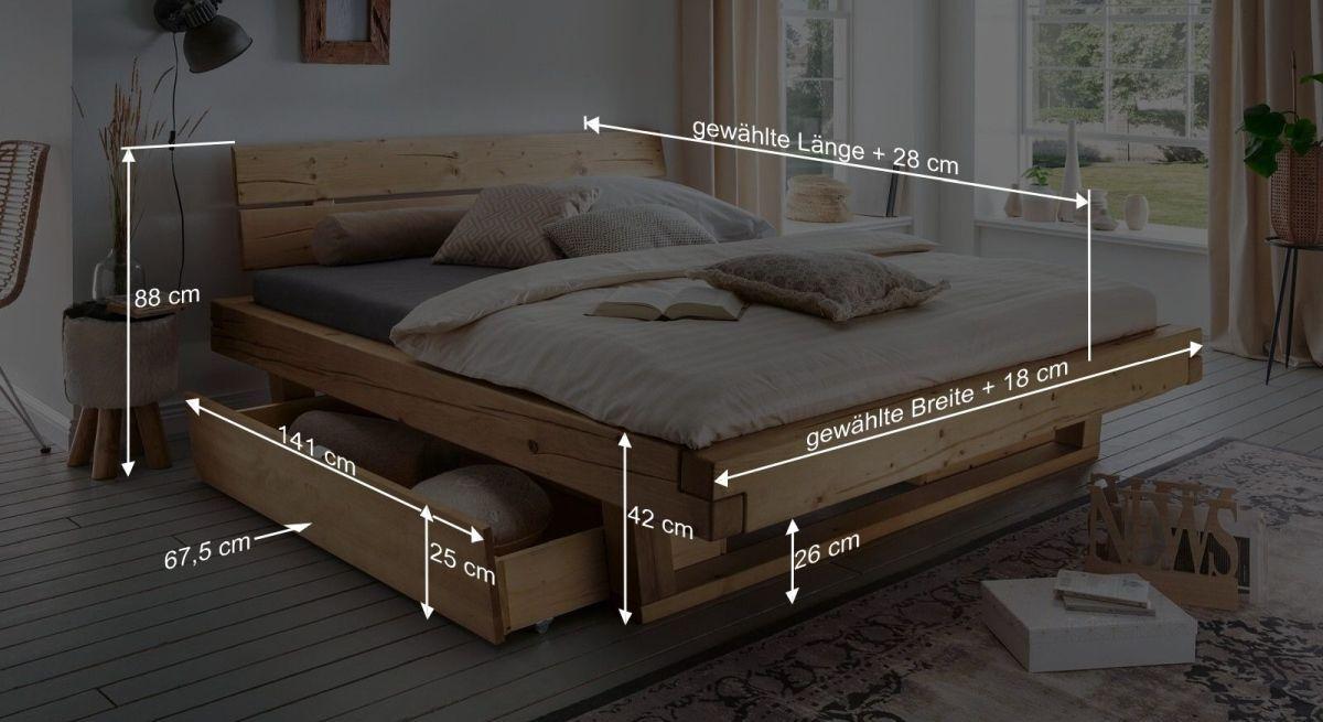 Bemaßungsgrafik zum Schubkasten Bett Barup