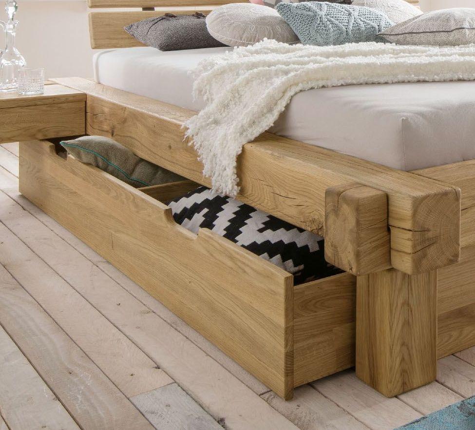 Designer-Balkenbett mit Schubkasten Echtholz Wildeiche - Doba