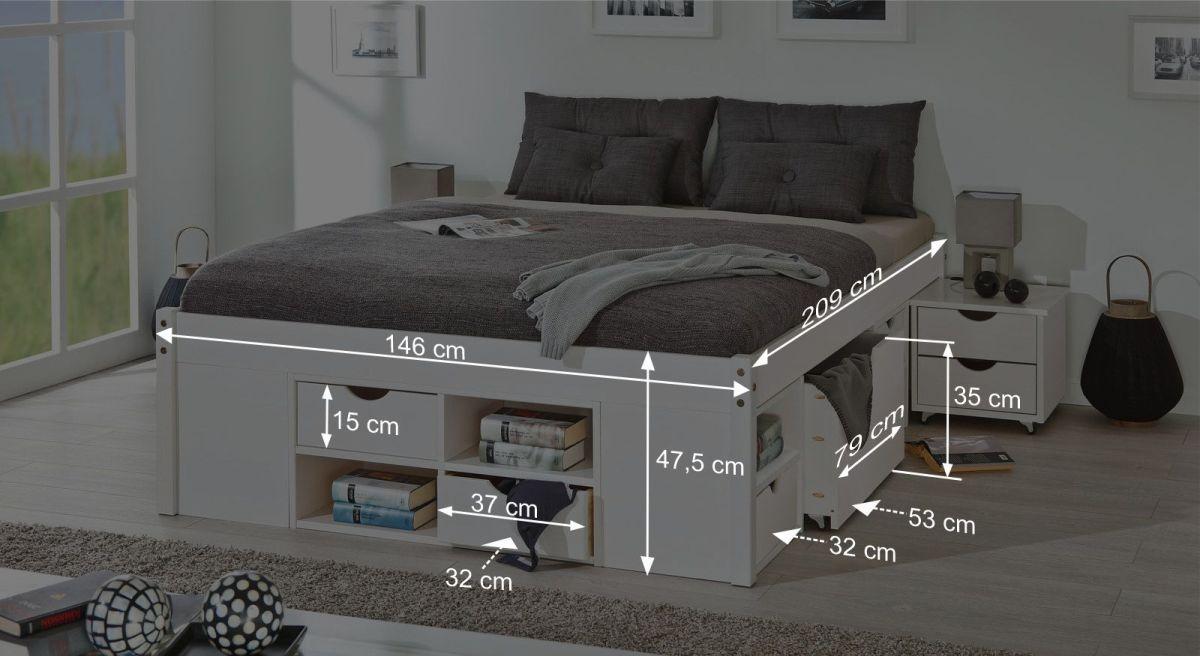 Schubkasten-Bett Göteborg aus weißem Kiefer