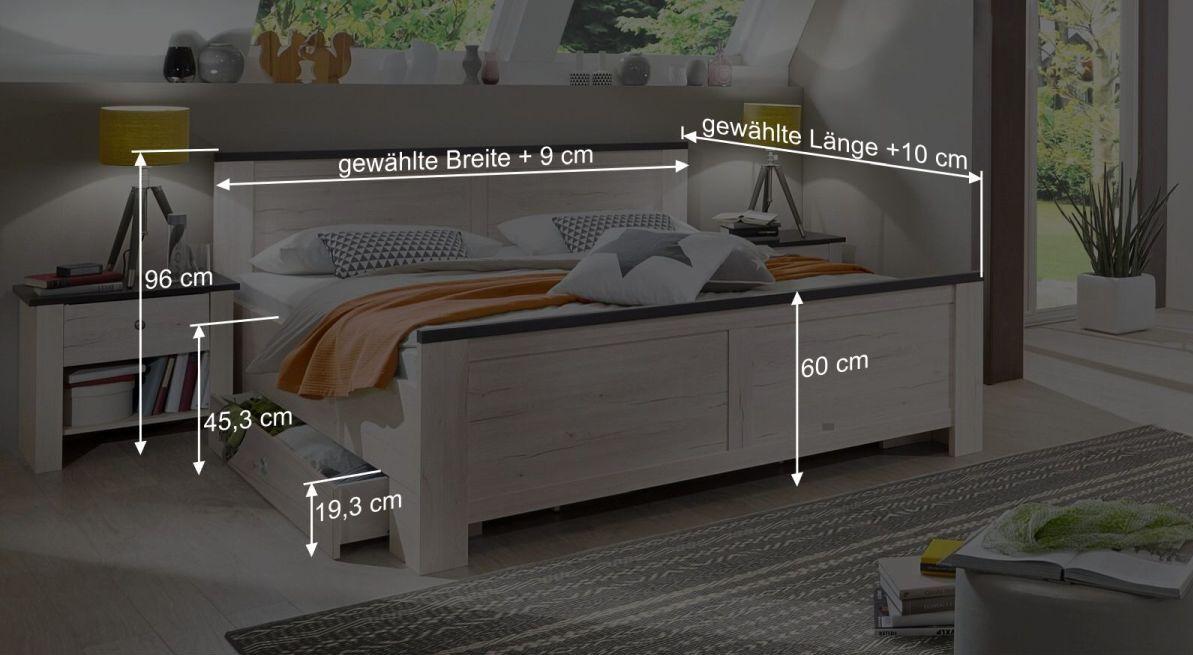 Bemaßungsgrafik zum Schubkasten Bett Grom