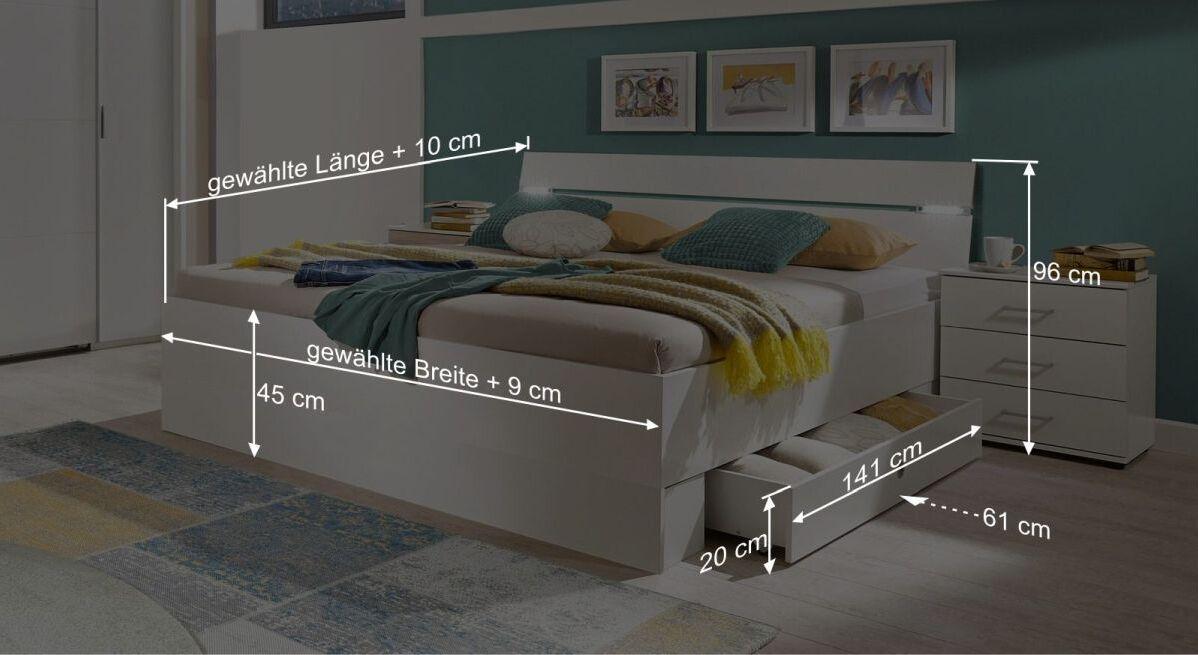 Bemaßungs-Grafik zum Schubkasten-Bett Kiraly