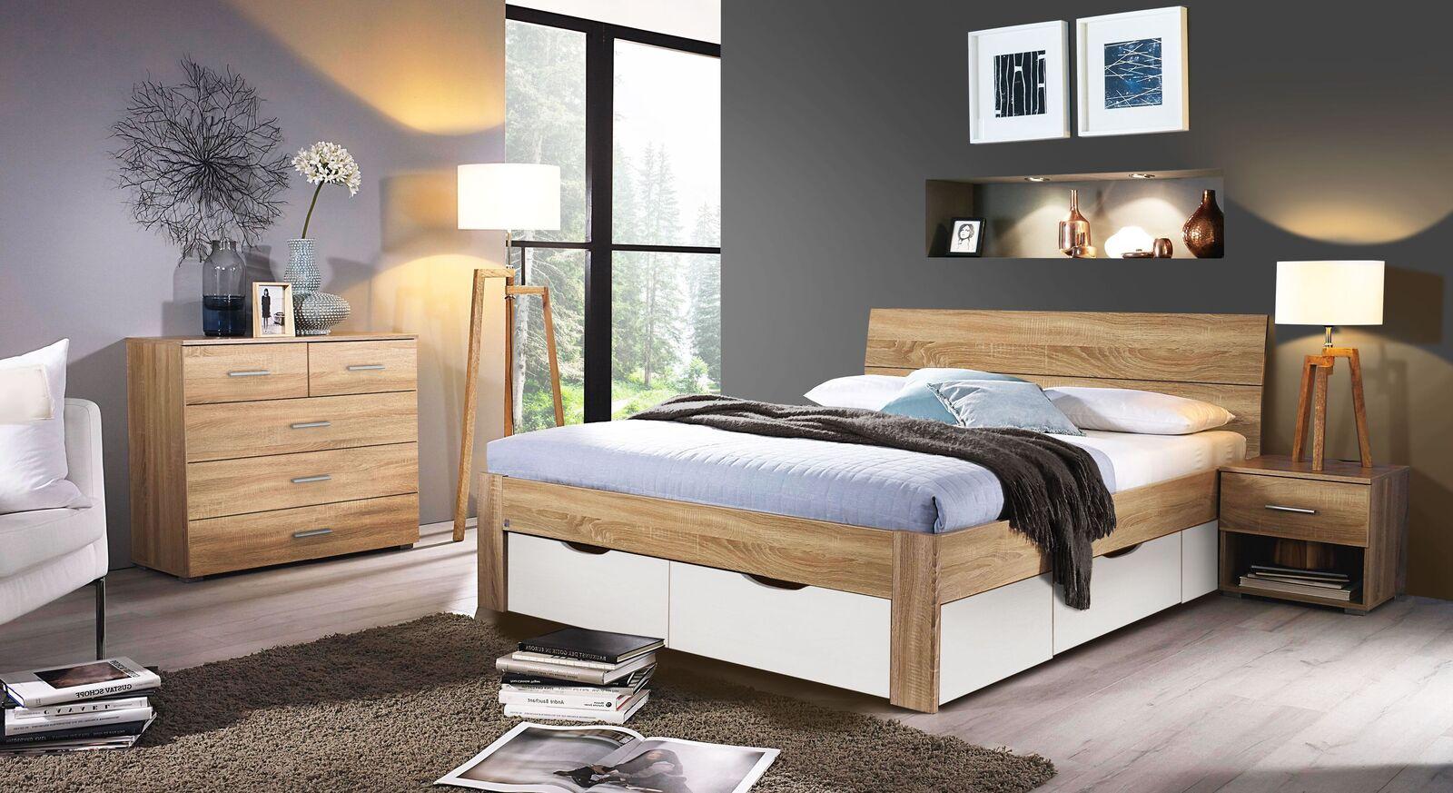 Schubkastenbett Oliana mit passenden Schlafzimmermöbeln