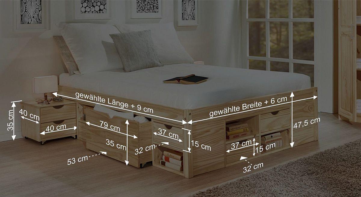 Bemaßungsskizze zum Schubkasten-Bett Oslo
