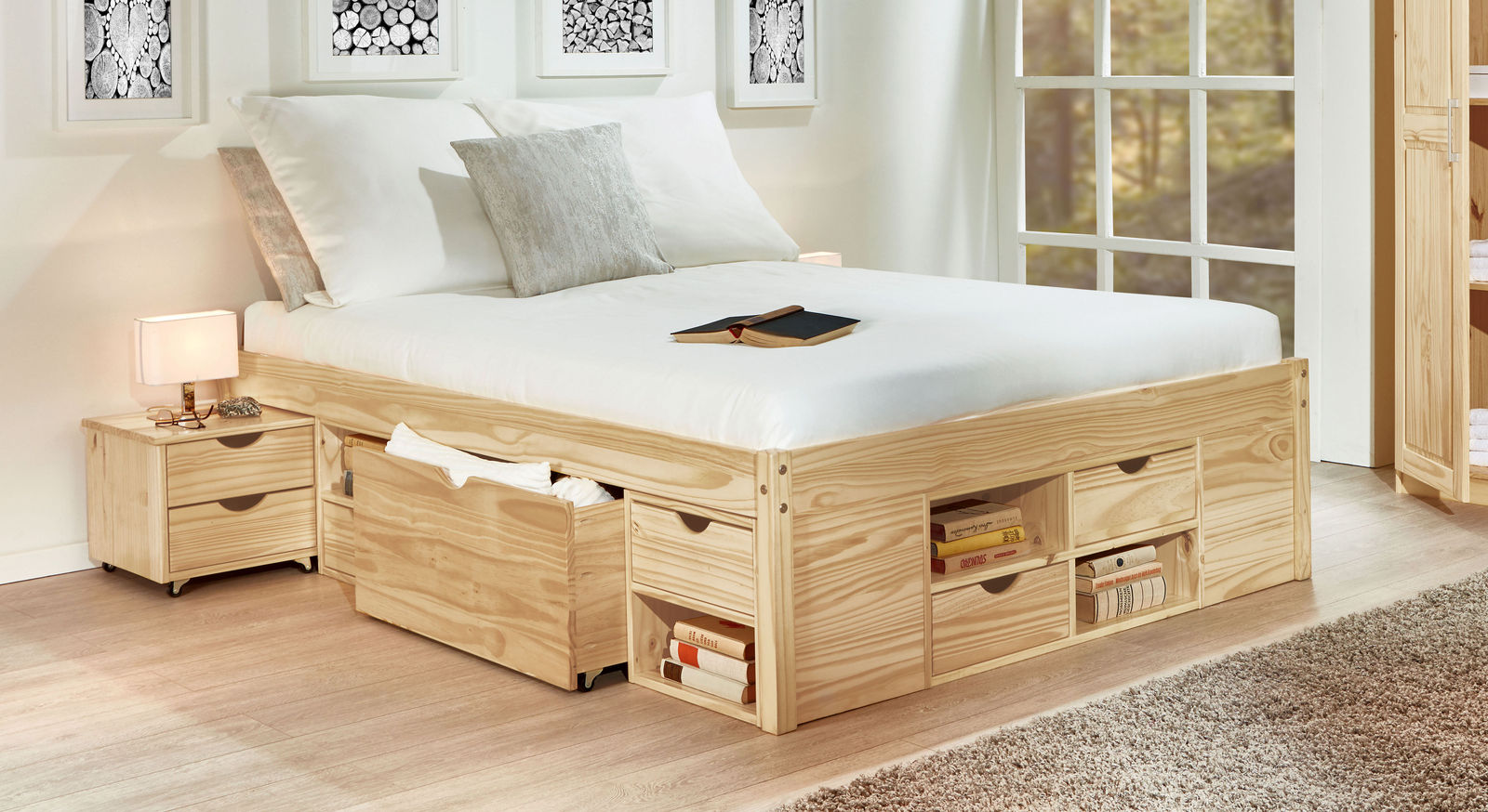 Schubkasten-Bett Oslo aus naturfarbener Kiefer